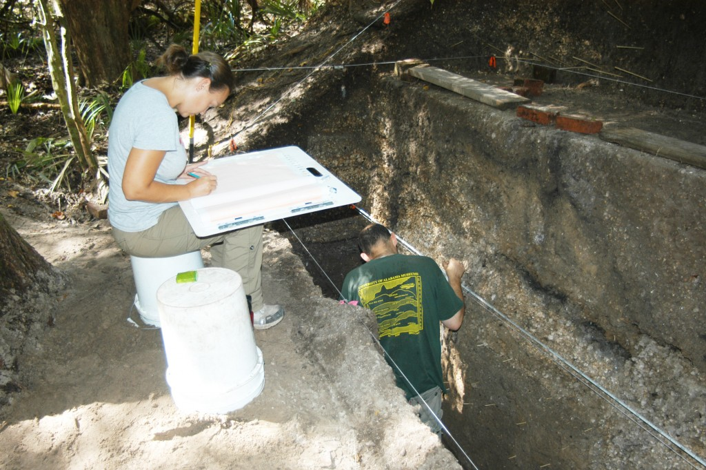 Recording stratigraphy at an Archaic period shell mound